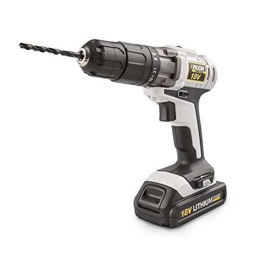 Argon Power Tools 46234 - Taladro percutor de batería de litio (18V, 0-1500 RPM, 21 posiciones PAR, carga rápida, luz LED) color blanco