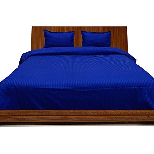 BudgetLinen 4PCs Duvet Set Fitted Sheet(Azul Real Raya, Emperador(7'x7' 6''), Pocket Size 37cm) 100% de Algodón Egipcio Calidad Premium 600 Número de Hilos