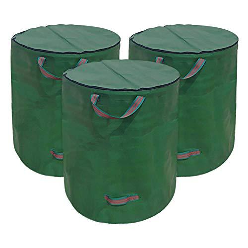 *Huainiu Gartensack Mit Deckel VerschließBar Faltbarer Gartenabfallsack Mit Reissverschluss Wasserdicht 272L GartenabfallbehäLter Laubsack Groß Selbstaufstellend (2X 272 Liter)*