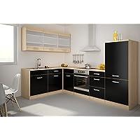 Top Küche Lina 180x280cm Küchenzeile Schwarz/Buche Iconic Küchenblock OVP