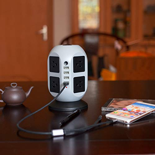 JIEJIEZ Tower Surge Protector Power Strip 8 Steckdosen + 4 USB-Anschlüsse USB Charging Power Strip