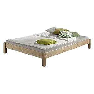 Futonbett Bett Doppelbett Massivholzbett TAIFUN,Kiefer, natur lackiert, 140 x 200 cm