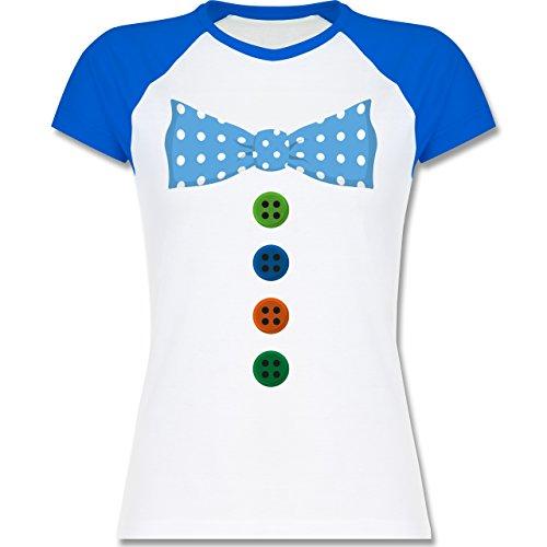 Karneval & Fasching - Clown Kostüm Blaue Fliege - zweifarbiges Baseballshirt / Raglan T-Shirt für Damen Weiß/Royalblau