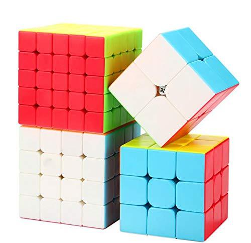HJXDtech- MoFunGe Stickerless Magico cubo 2x2x2 cubo 3x3x3 4x4x4 5x5x5 velocità Racing (Confezione da 4 Set)