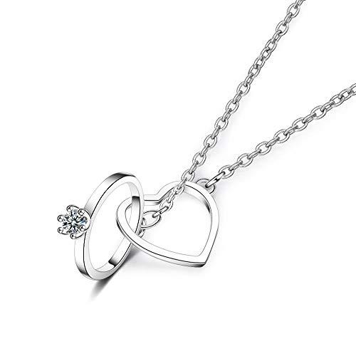 n Doppelschnalle Einfache Kurze Doppelring Halskette Anhänger Schlüsselbein Kette O Wort Kette @ Word Weibliche Halskette Damenschmuck ()