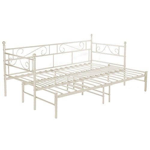 H.J WeDoo Tagesbett Ausziehbett Metall Single Sofa Optionen Für Ausziehbett,  Tagesbett Mit Unterbett Trundle,Beige