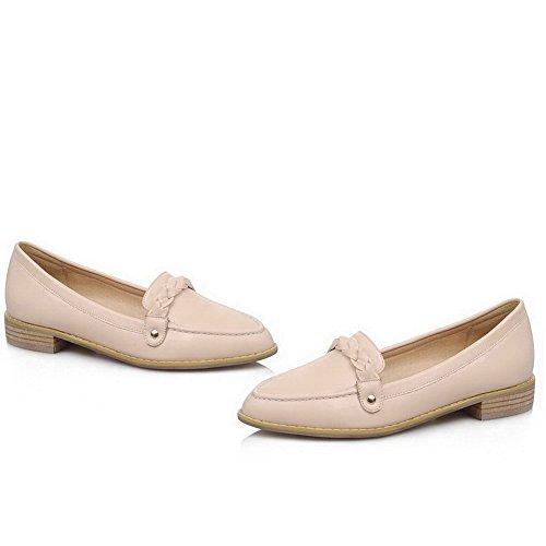 AgooLar Femme Couleur Unie Pu Cuir à Talon Bas Pointu Mosaïque Tire Chaussures Légeres Beige