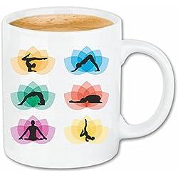 """taza para café """"YOGA gimnasio de fitness yoga de la gimnasia ejercicios de yoga CLUB Bauchweg ejercicios de entrenamiento"""" Caso duro de la cubierta Teléfono Cubiertas cubierta para el330 ml de cerámica en blanco"""