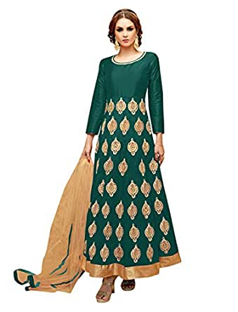 Pop Mantra Women's art silk a line Salwar Suit Set (71245E_ Green_ Xxx-Large)