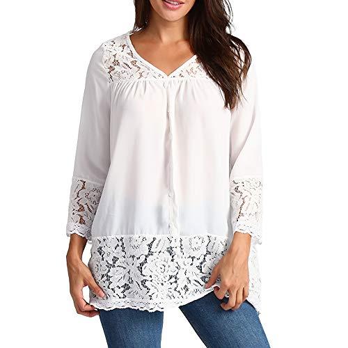 FOUNFME Frauen Weiß Spitze Patchwork Bluse Damen Beiläufige Lose DREI Viertel V-Ausschnitt Shirts Weibliche Taste Up V-Ausschnitt Tops -