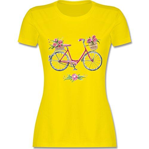 Vintage - Vintage Fahrrad Wasserfarbe Blumen - tailliertes Premium T-Shirt mit Rundhalsausschnitt für Damen Lemon Gelb
