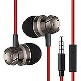 HMOCNV 3,5 mm Gusano de metal en los oídos bajo auriculares aislamiento de ruido y control de volumen potente bajo para Smartphone Mp3 Mp4 jugadores rosso