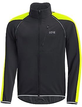 Gore Wear C3 Windstopper Phantom Chaqueta Zip-Off, Hombre, Negro/Amarillo (Amarillo Neon), XXL