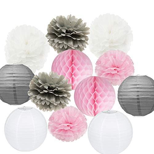 Pompoms Deko Furuix 15 Stück rosa grau weiß Party Deko-Set Seidenpapier Pom Pom Honeycomb Ball für Bridal Dusche Mädchen Geburtstag Hochzeit Dekoration Rosa Baby Dusche Raum Dekoration Partyzubehör
