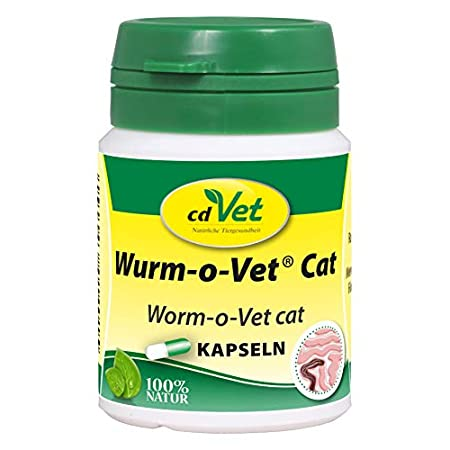 cdVet Naturprodukte Wurm-o-Vet Cat 12 Kapseln – Katze – Ergänzungsfuttermittel – überhöhter Wurmbesatz – Unterstützung…