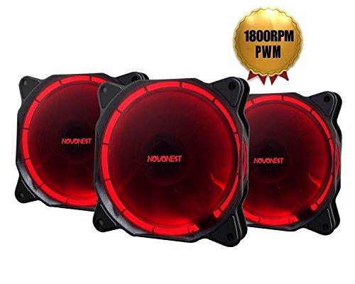 novonest Gehäuselüfter 120-LED Quiet Edition 120mm High Airflow Rot LED Lüfter,4-pin,3er Set Gehäuselüfter