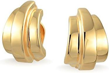 Bling Jewelry Moderno pulido medio aro Clip lineal en pendientes