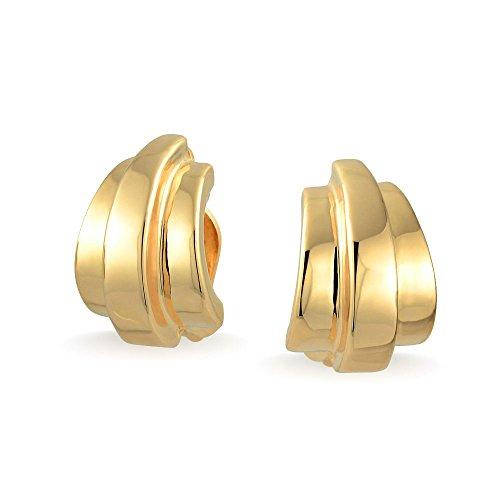 Geometrische Garnelen Hälfte Creolen Ohrclips Ohrringe Für Damen Nicht Durchstochene Ohren Poliert 14K Vergoldet Messing