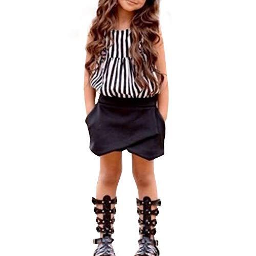 ekleidungsset,Kleinkind Kinder Baby Mädchen Outfit Kleidung Gestreiftes T-Shirt Tops + Shorts Hosen,Frühlings und Sommeranzug,Mädchenbekleidung,Zweiteiliges Set ()