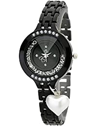 Dk Heart Pearl Dangle Love Heart Black Dial Black Metal Strap Movable Crystal Fill Case Analogue Wrist Watch For...
