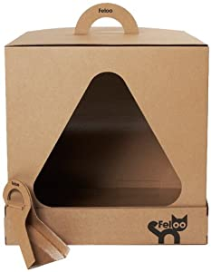 Feloo Cube Disposable Enclosed Cat Toilet Box Or Cat Litter Box With 1 Lid 2 Trays 4 Scoops from Feloo Ltd