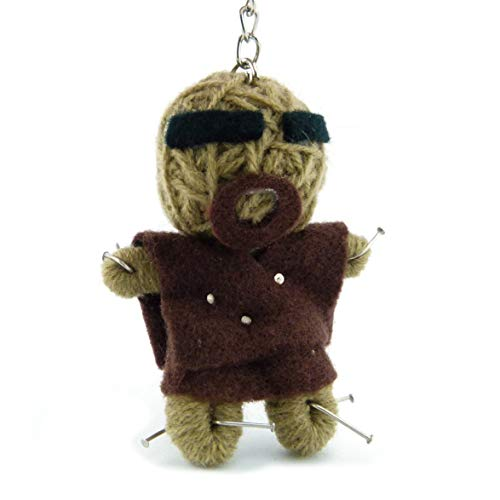 Voodoo Püppchen - Voodoo-Puppe Schlüsselanhänger als Seelentröster und Glücksbringer als Accessoire - Anhänger für Taschen Handy Autorückspiegel - Sorgenpüppchen Handgemacht aus Wolle und Stoff