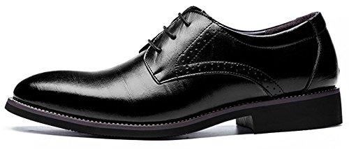 Anlarach Männer klassisches echtes Leder schnüren sich oben spitzen Zehe Oxford-Schuhe Schwarz EU 43 (Tops Beaded Boot)