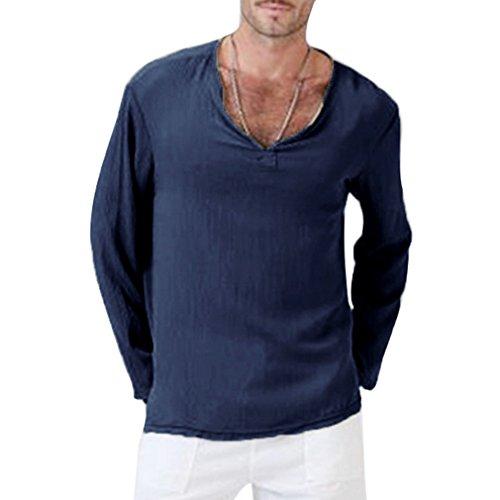 Leinen Chinesischen Stil Dünnschnitt Baumwolle Langarm-Shirt, 5 Farben (Asiatische S-3XL) (Asiatische Kostüme Männlich)