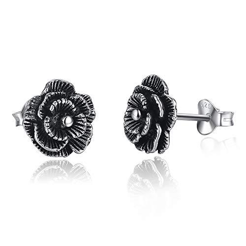 Damen-Ohrstecker, schwarze Rose, Sterling-Silber 925