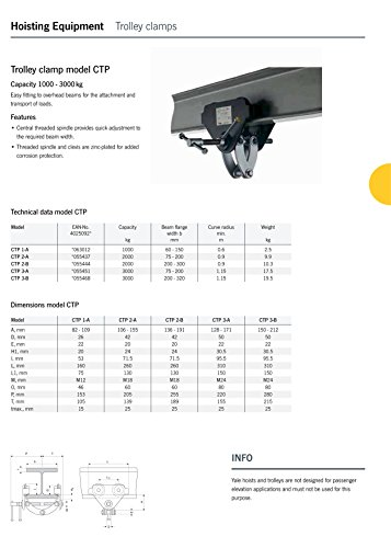 """Yale amz1022764CTP """"Integral Trolley per fascio morsetto, 2.0T, larghezza fascio: 75mm-200mm"""