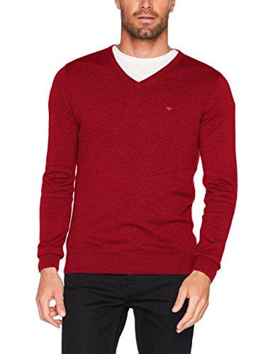 TOM TAILOR Herren Pullover Basic v-Neck Sweater, Rot (Milano Red Melange 4777), Large
