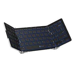 iClever Faltbare Drahtlose Bluetooth Tastatur mit QWERTZ Tastaturlayout Wireless Tri-Klappbare Tastatur für Windows PC/ Tablet/ Smartphone (Bluetooth-Tastatur)