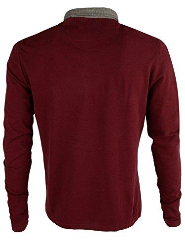 "Brave Soul - Herren Polo T-Shirt ""Lincoln"" Pique Lange Ärmel Burgund"