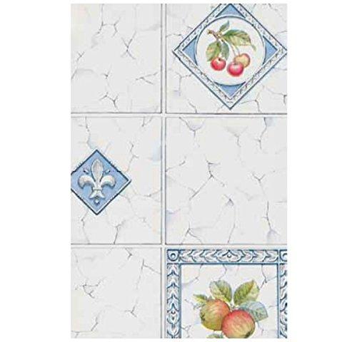 (3 Rollen Klebefolie Möbelfolie Dekorfolie Fliese Äpfel Kirschen 45 cm x 200 cm Selbstklebefolie mit Obst Motiv Elementen - dekorative selbstklebende Folie)