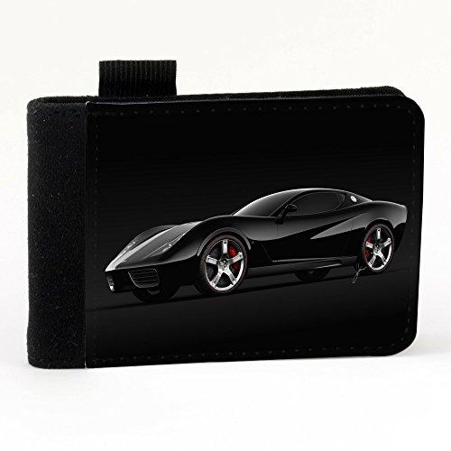 Auto 10004, Macchina Nera, Nero Polyester Piccolo Cartella Congressi block notes Tasca Taccuino con Fronte di Sublimazione e alta qualità Design Colorato.Dimensioni A7-131x93mm.