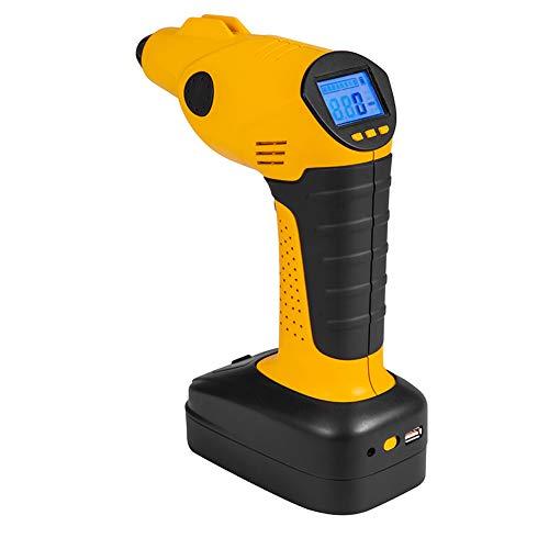 HENGMEI Luftpumpe Elektrischer Kompressor 12V 130PSI Kabellos mit Akku Tragbarer mit digitaler LCD-Anzeige für Auto, Fahrrad, Ball