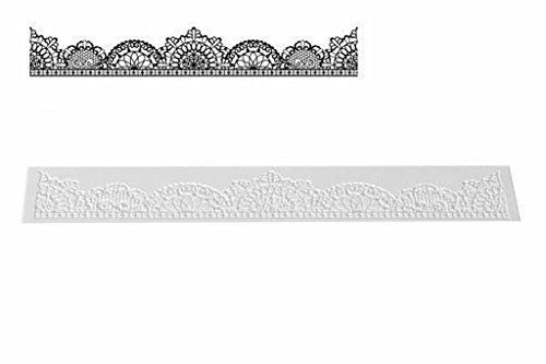 silikomart TRD08 Tapete para Encajes de azúcar, Silicona, Blanco, 400 x 65 h 1,8 mm