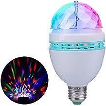 Bombilla de control de voz JUDYelc Lámpara rotativa a todo color LED Luz giratoria Fiesta móvil Etapa Proyector de luces DJ para fiesta de discoteca KTV Bars Club