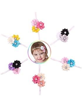 Emitha 6 Stück Baby Stirnbänder Baby Mädchen Stretch Nett Kaninchenohren Gedruckt Turban Stirnband Kopf Verpackung...