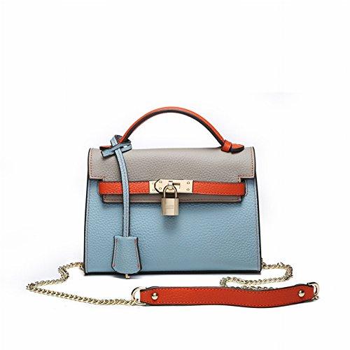 Lychee Gestreifte Leder Mode Leder Handtasche Schulter Kelly Kette Handtaschen , hellblau (Leder-gestreifte Handtasche)