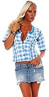 10613 Fashion4Young Damen Dirndlbluse Bluse Trachtenbluse Dirndl Trachten Oktoberfest Hemd Lederhose Dirndl