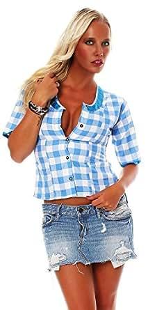 10613 Fashion4Young Damen Dirndlbluse Bluse Trachtenbluse Dirndl Trachten Oktoberfest Hemd Lederhose Dirndl (34, Blau)
