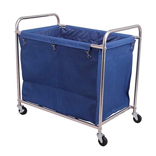 Salon Trolleys Trolley Kommerzieller Wäschesortierer-Korbwagen Mit Rollenden Rädern, Abnehmbare Hochleistungsbeutelaufbewahrung, Stabiler Stahlrahmen (Color : Blue)