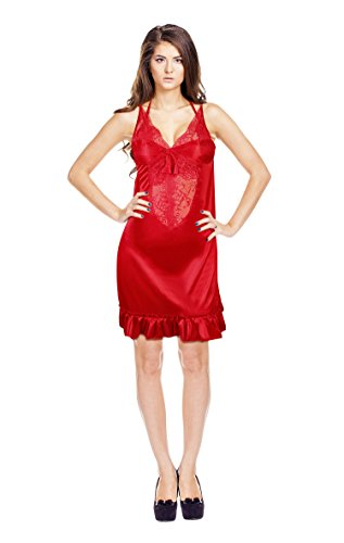 TEQTO Women's Red Satin Nighty, Bra & Panty Set