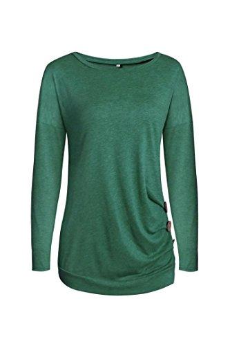 FRYS chemise femme chic soiree pull femme hiver fashion manteau femme grande taille Printemps vetement femme pas cher mode blouse femme manche longue casual chemisier top t-shirt Vert