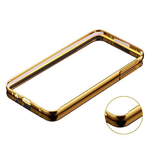 Minto Luxus Aluminium Metall Spiegelhülle Schutzhülle + Panzerglasfolie iPhone 5 / 5S / SE Spiegel PC Rückseite Case Cover Hülle Gold + Metall Bumper Rahmen Echtglas Hartglas Schutzfolie 9H Gold -a3(2015)