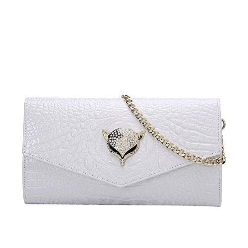 Borsa Da Sera Con Pochette In Pelle Deman Qb043 E-girl, 26x14.5x2cm (lxhxp) Bianco