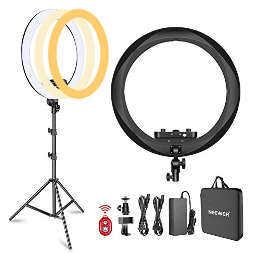 Neewer Ring Light Kit [1,8cm Ultra Fin] Anneau Lumineux 48 cm, 3200-5600K, Lumière Anneau à Intensité Réglable avec Pied, Porte-Smartphone, Monture Sabot pour Photo Studio Vidéo (Noir)