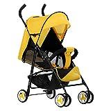 SHOWGG Der Kinderwagen ist leicht und kompakt, kann Sich auf den Kinderwagen setzen, leichtes faltbares Reisesystem, urbaner High-View-Luxus-Kinderwagen mit 39 * 18,5 * 18,5 Zoll,Yellow