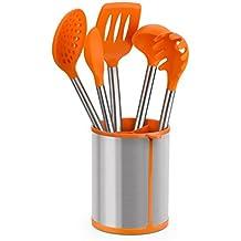 BRA Efficient Conjunto de 5 Utensilios de Cocina y Carrusel, Acero Inoxidable, Naranja, 14,5x15x37,5 cm